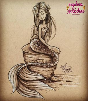 Sitting Mermaid by angelaaasketches
