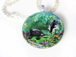 Skunk Pendant Necklace by sobeyondthis