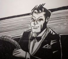 James Bond: in car:(India Ink) by donwhitt