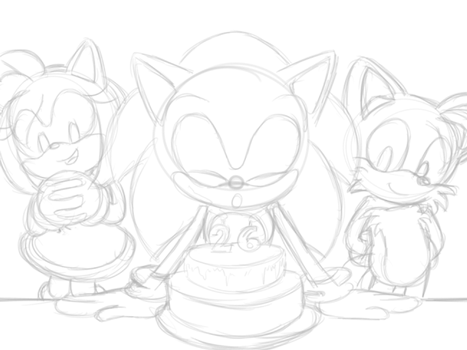 PROCESS - Sonic 26th Birthday by Karneolienne