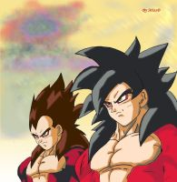 Vegeta and Goku SSJ4 by misspsyb