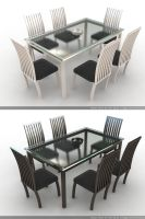 Wood and Glass table by Animaleante