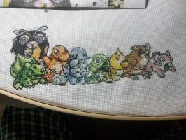 pokemon 150 cross-stitch W.I.P 009 by cainslove