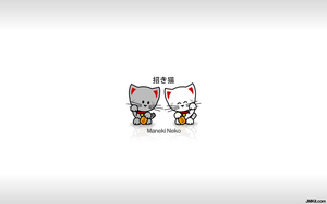 Beckoning Cats Wallpaper by JinxBunny