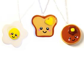 Happy breakfast necklaces by LittleMissDelicious