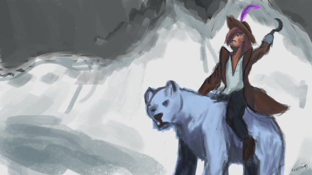 Pirate riding a polarbear by DivineEdward