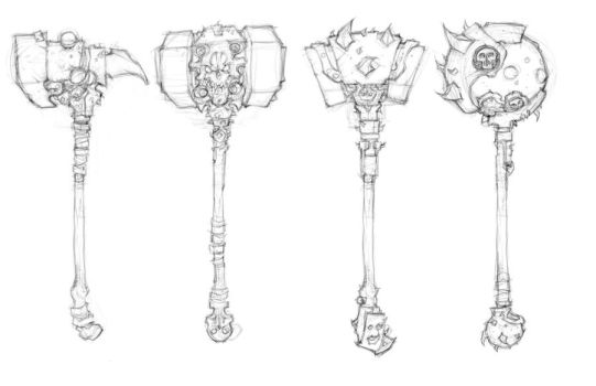 Darksiders II weapon concepts Hammers 3 by DawidFrederik
