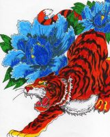 Tiger with two flowers by guitargold