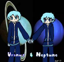 Uranus and Neptune -Art Trade- by Akumer