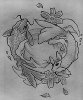 Black and white Koi-Fishes by HorribleEscape