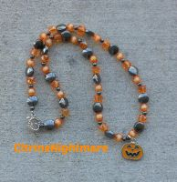 Halloween Necklace: Pumpkin by CitrineNightmare90