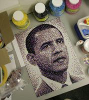 Barack Obama Bead Portrait by legomov