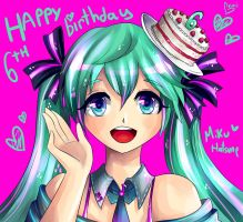 Happy 6th Birthday Miku Hatsune! by Akuo-P