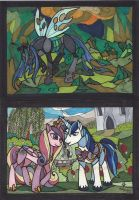 Queen Chrysalis and The Royal Couple Postcards by mialythila