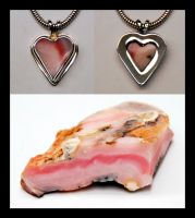 Pink Opal Heart Pendant by manwithashadow