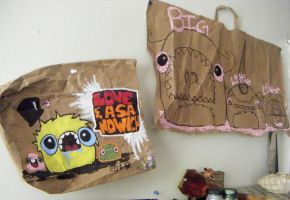 Paper bag monsters by loveandasandwich
