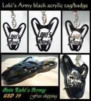 Loki's Army black acrylic tag/badge by J-C