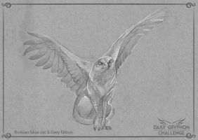 GryphonChallenge 06: Russian blue and grey falcon by GaiasAngel