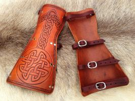 New Celtic Knot Simple Bracers - Underside by SonsOfPlunderLeather