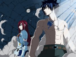 erza and gray by CursedIceDragon