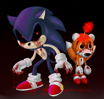Sonic.exe and Tails doll by TerryRed