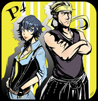Naoto and Kanji. (Persona 4: Dancing All Night) by Paper-pulp