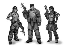 Commission: Soldier sketches by TitikAwalCreative