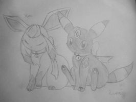 Glaceon and Umbreon by luna-the-umbreon