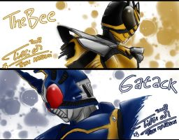 Kamen Rider TheBee and Gatack by Tc-Chan