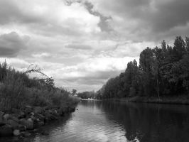 Black and White River by Kagaea