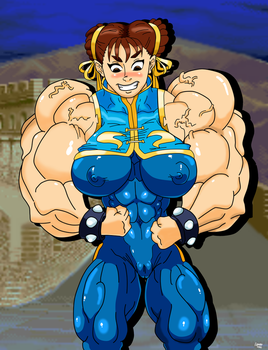 Pumped Alpha Chun-li (colored) by atractivemonkey007