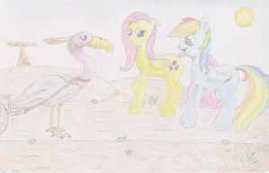 Fluttershy and Rainbow Dash Meet the Heron(Colour) by Cloudyskieswrites