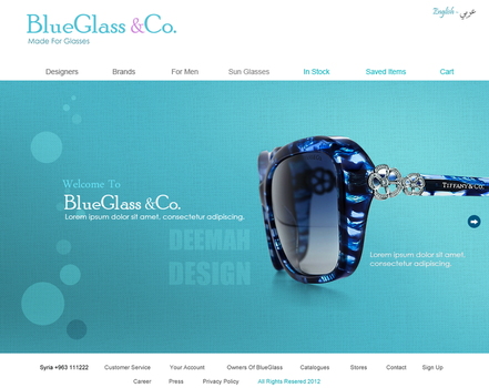 BlueGlass - Glasses Website - Index Page by Bellie