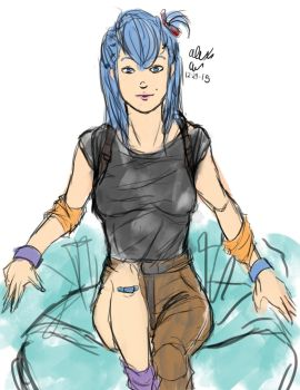 12-29-2015 Bulma inspired sketch by Goldencard