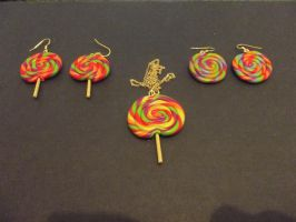 Fimo Necklace and Earrings by MeticulousBlue
