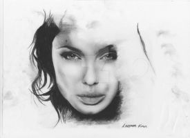 Angelina Jolie Drawing by IkilledMyElegance