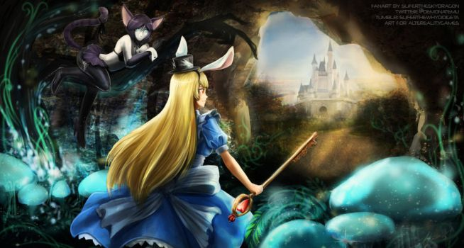 Force of Will - Alice and the Cheshire Cat by slifertheskydragon