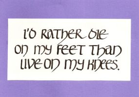 I'd rather die on my feet postcard by Itti