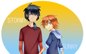 Sunny-tan and Stormy-kun 2 by beartachi
