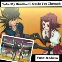 YuseiXAkiza Wallpaper: Take My hands i'll Guide U by XxXxRedRosexXxX