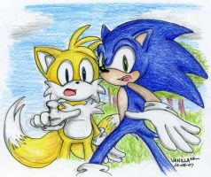 Sonic and Tails Sketch by VanillaREM