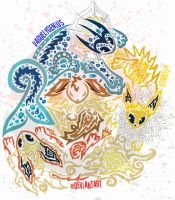 Tribalish Original Eeveelutions by vaguelygenius