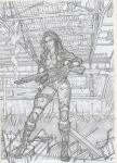 Post apocalyptic warrior sketch -2 .backgrounds by IMPOSI