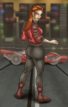 Female race driver by Megatonter