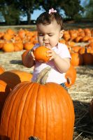Baby girl with a baby pumpkin by CKing