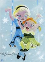 Little Elsa and Anna by Katerina-Art