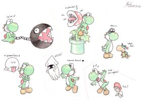 Yoshi in different situations... by KarneTia