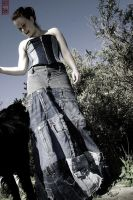 Denim Corset and OOAK Skirt by MorbidPrincess122