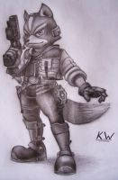Fox McCloud Pencil Drawing by Spectrum-VII