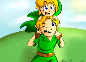 Link and Lil Link Quick Sketch by brittninja